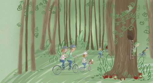 Illustration of friends are riding bicycle
