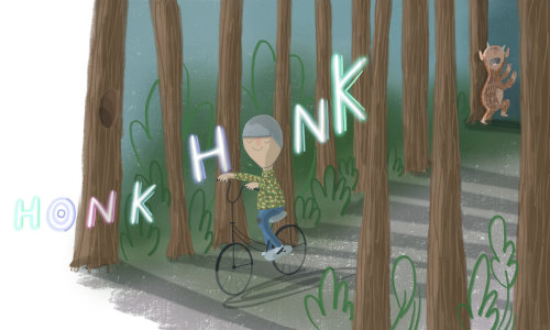 honk noise coming from Molly's bike