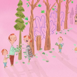 Illustration of family collecting leaves at picnic