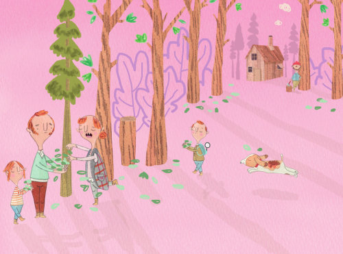 Ilustração da família coletando folhas no piquenique