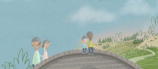 Illustration of couple sitting on bridge