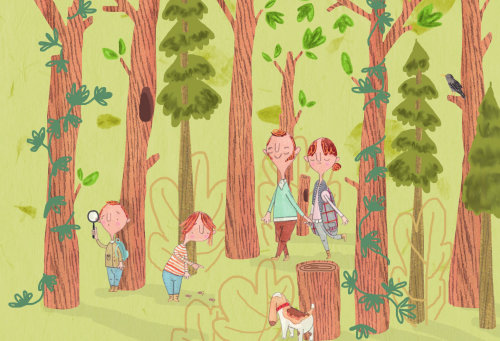 Família procurando arte de cor urso kodi