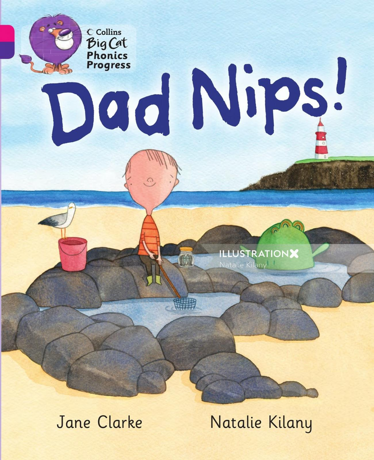 Dad Nips watercolor illustration