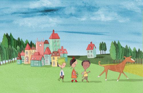 Illustration d'amis marchent derrière un chien