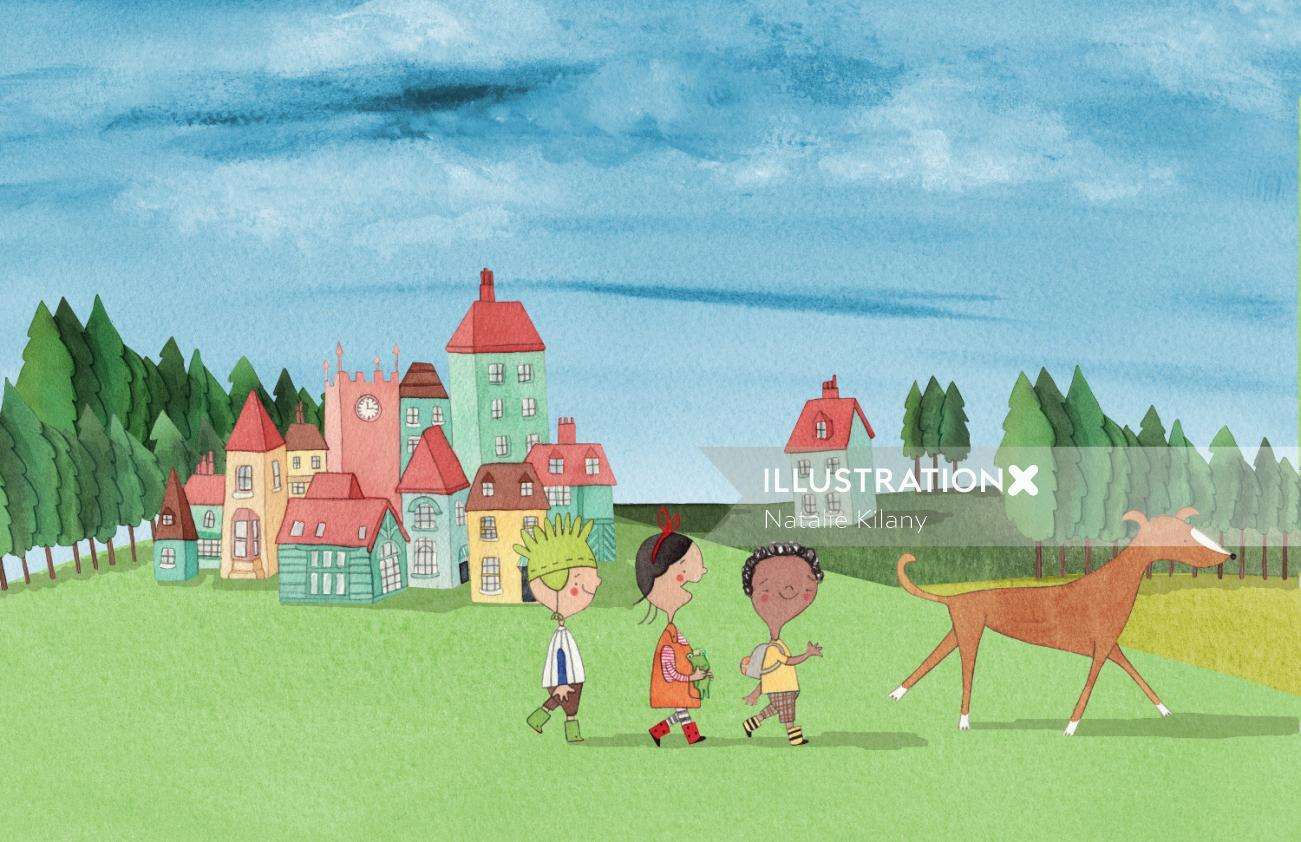 Illustration of friends are walking behind dog