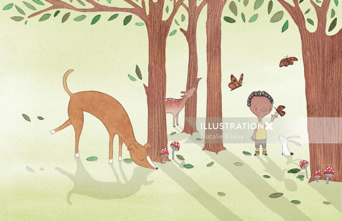 Kids playing with birds and animal
