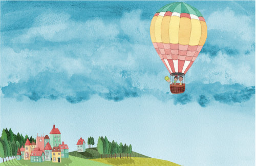 parachute coloré et les gens