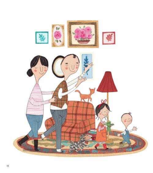 Famille avec peinture murale