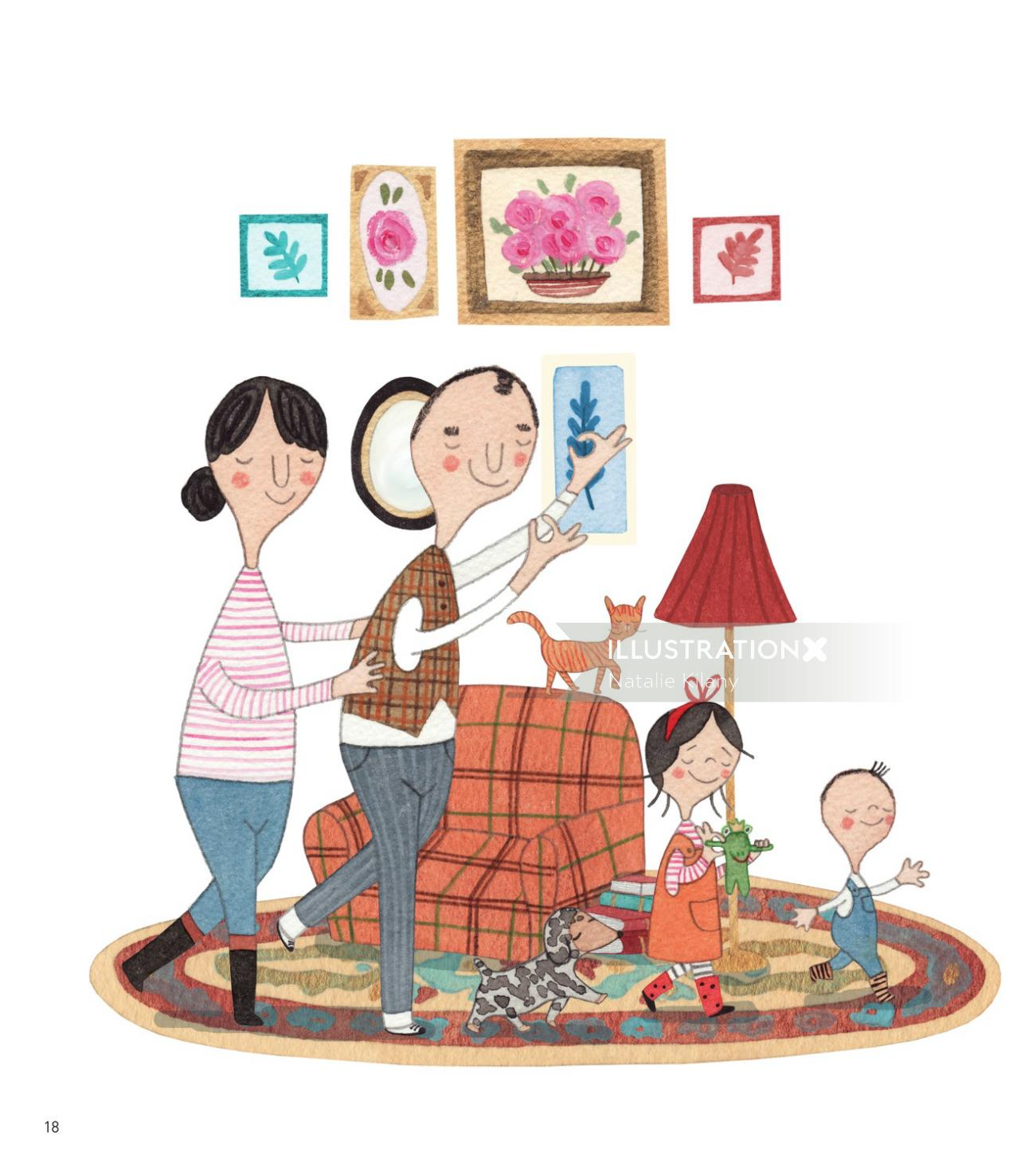 Family with wall painting