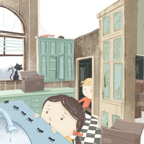 Girl and boy illustration for children's book