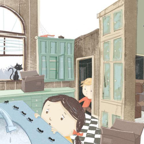 Girl and boy illustration for children's book