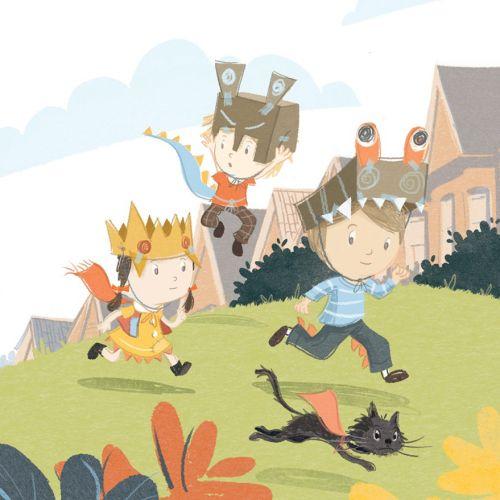 Cartoon character of children running