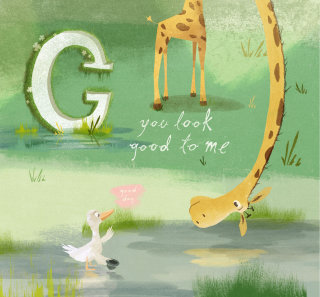 Cartoon character of giraffe and the goose