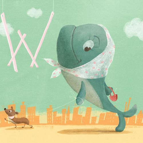 Cartoon illustration of whale and weasel