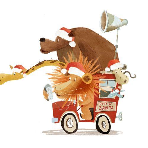 Cartoon animals riding on a car