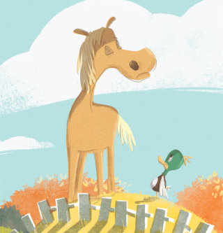 Children's illustration of horse and duck