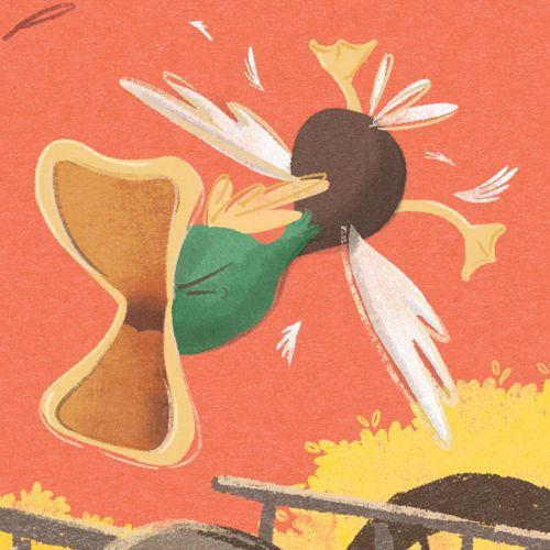 An illustration of cartoon duck flying