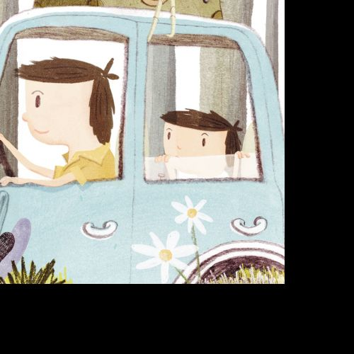 Cartoon drawing of father and son in car