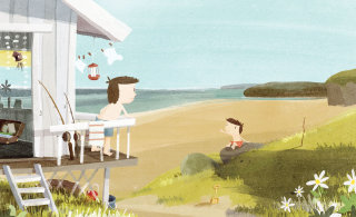 An illustration of father & son on the beach