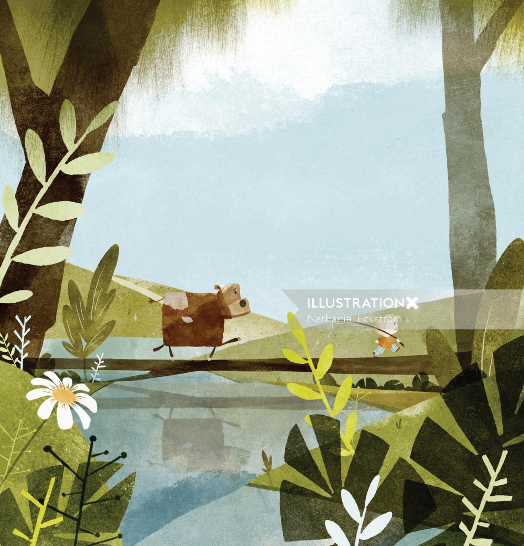 Cartoon boy and cow crossing the bridge