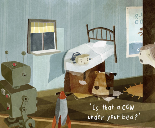 Children's illustration of cow under the bed