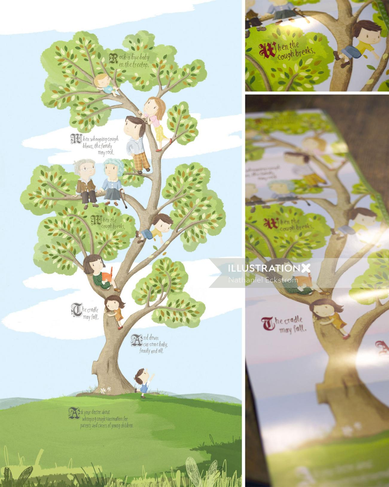 Children's illustration of Kids playing on tree