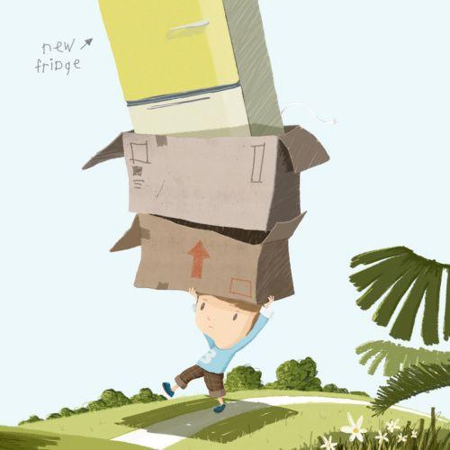 Child holds fridge & books on his head