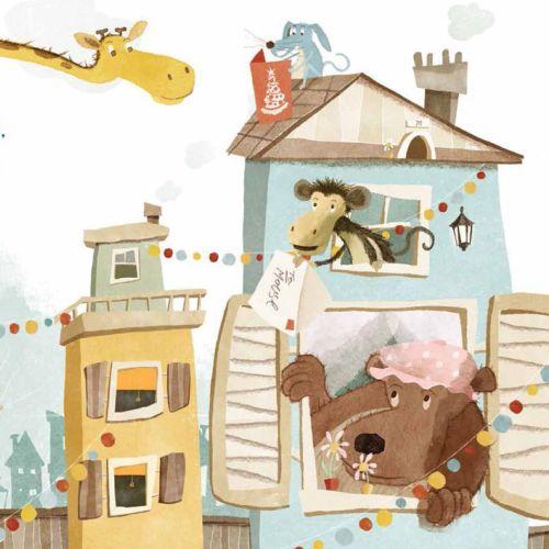 Children illustration animals in house