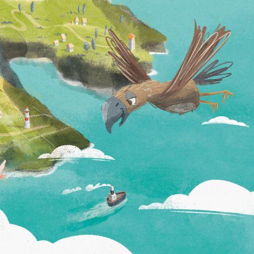 Children illustration of bird view