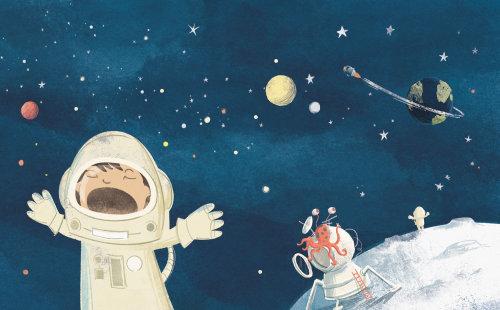 Crianças gritando na lua