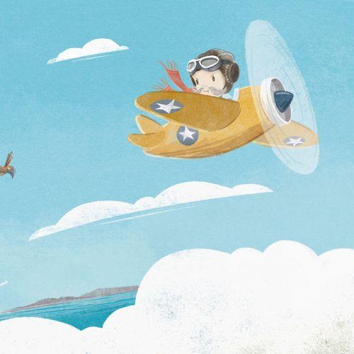 Graphic illustration of boy on aeroplane
