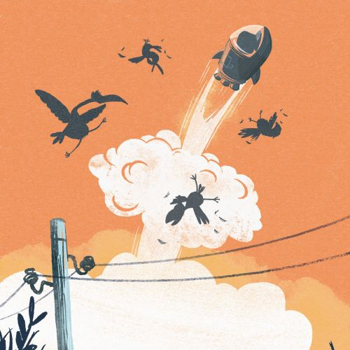 Children illustration rocket blasting into sky