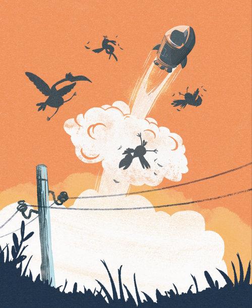 儿童插画火箭爆炸向天空