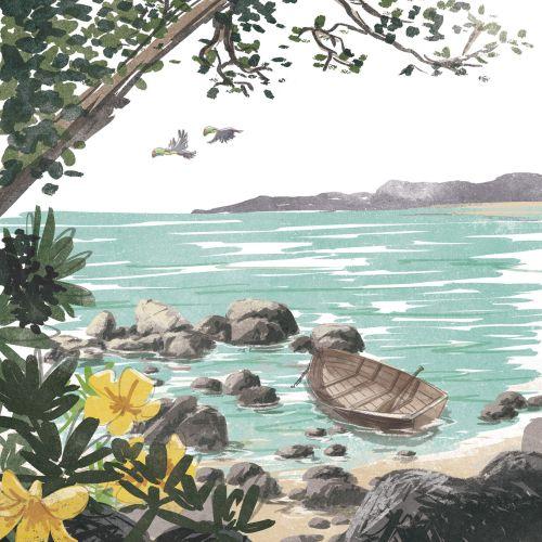 Retro illustration of travel beach