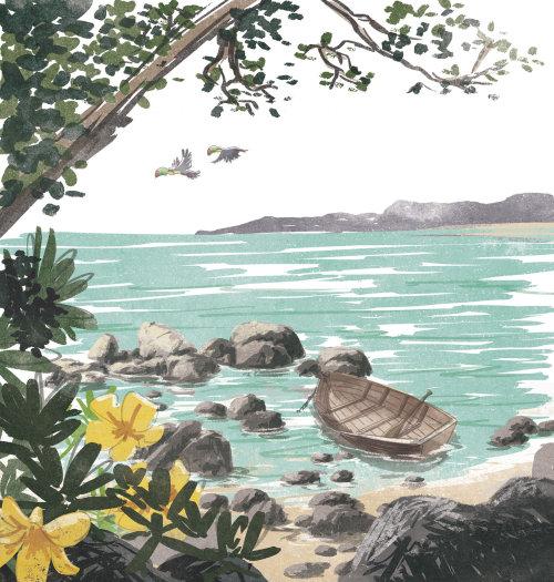 Ilustração retro da praia de viagens