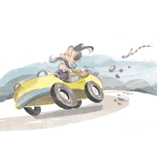 Retro illustration of man riding car