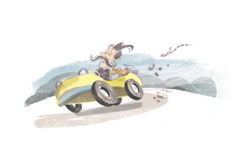 男子骑车的复古插图