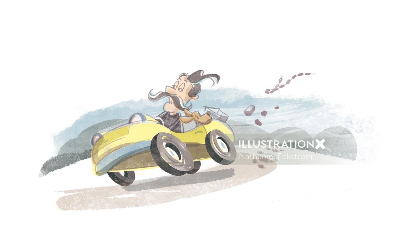 Retro illustration of man riding car