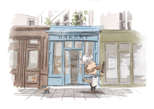 French baker, cats