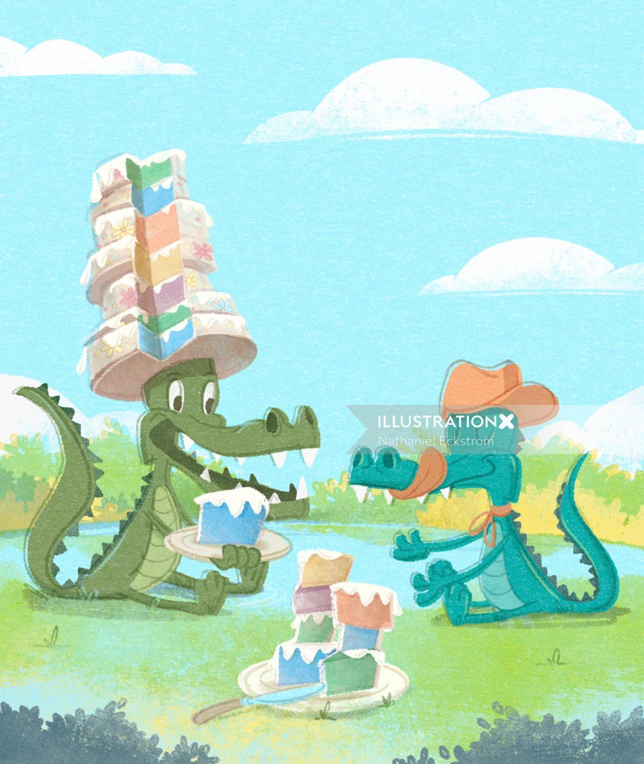 Alligators sharing cake