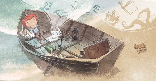男孩在船上做梦
