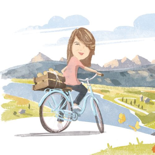 Bike ride, Digital Pencil art for Waitrose Magazine