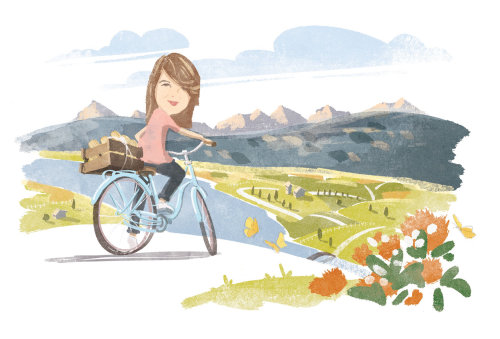 Passeio de bicicleta, arte Digital Pencil para a Waitrose Magazine