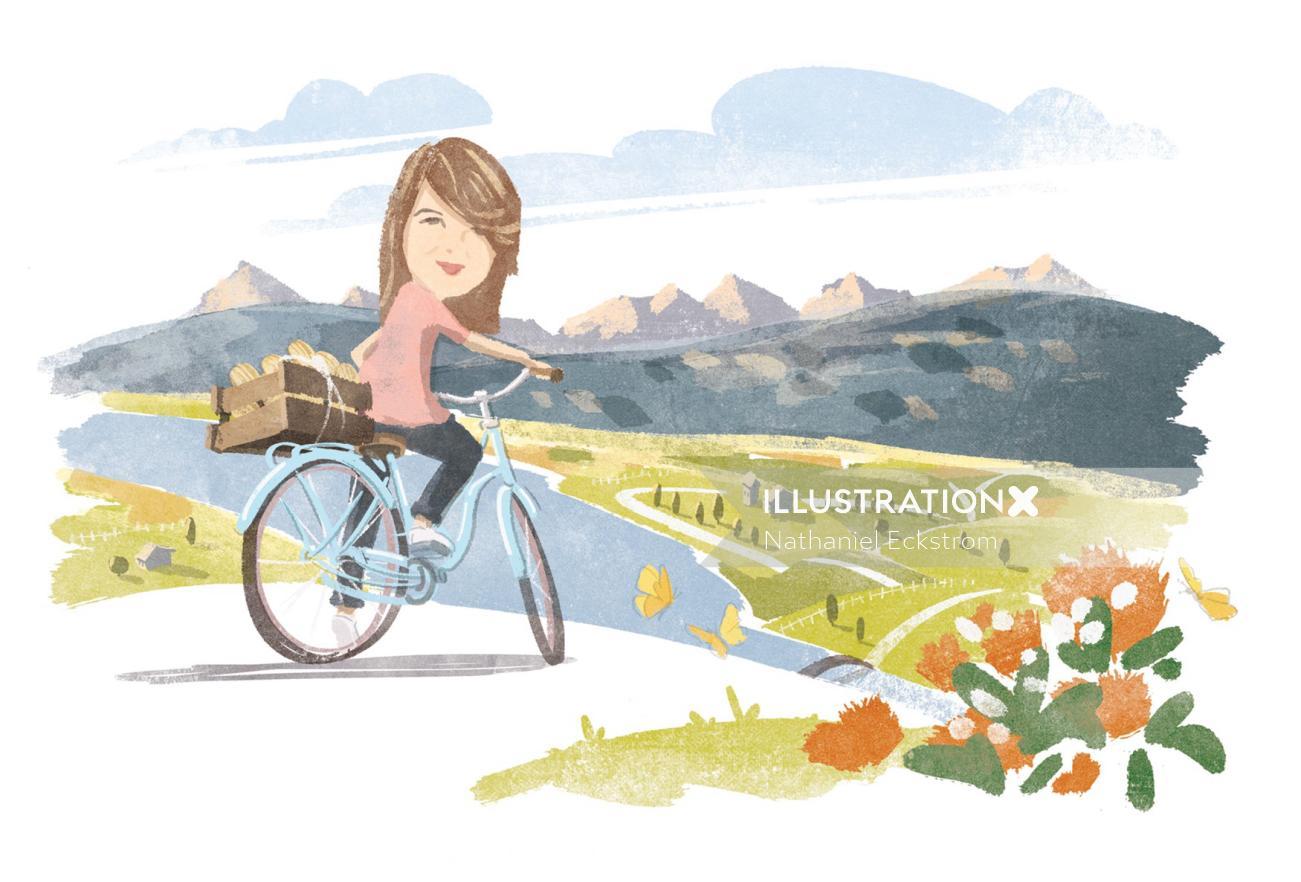 Bike ride, Digital Pencil art for Waitrose Magazine