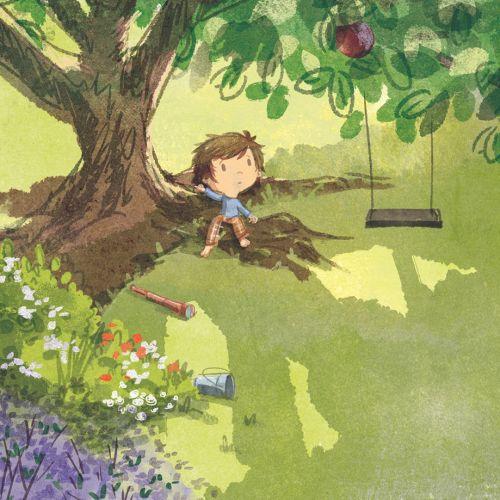children illustration boy resting under tree