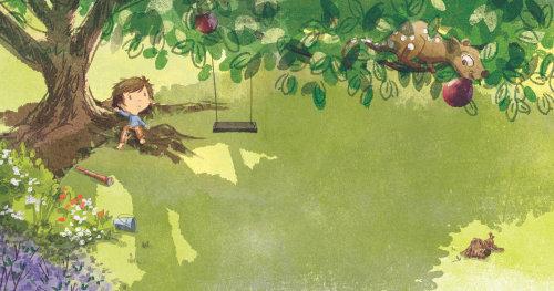 儿童插画男孩在树下休息