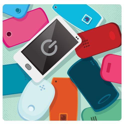 Digital Illustration of mobile phones