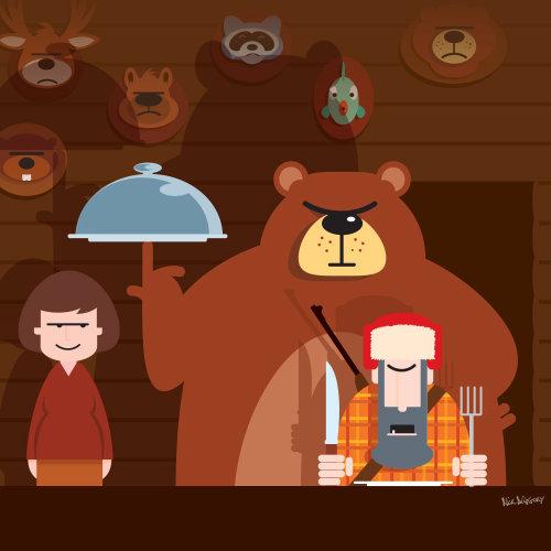 Digital Illustration of serving bear