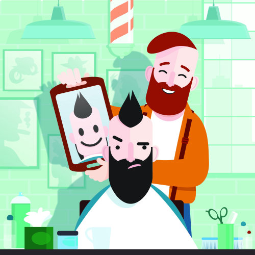Graphic of man in barber shop