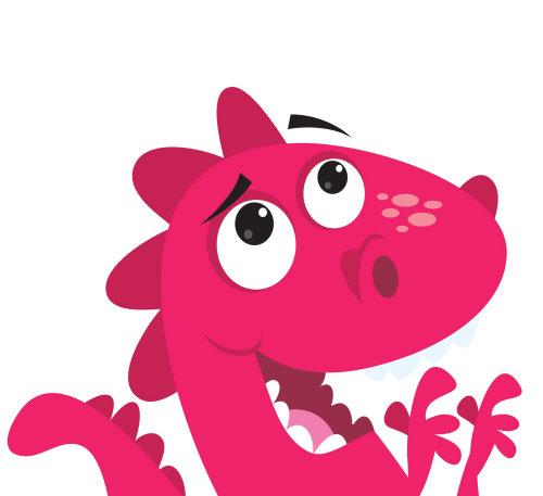 Animals happy crocodile in pink